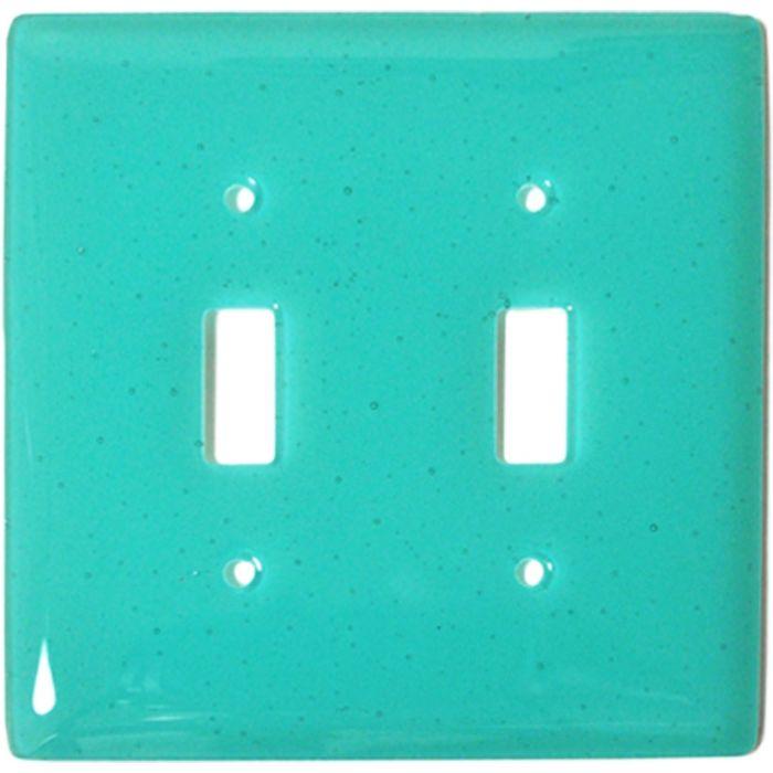 Light Aqua Blue Glass Double 2 Toggle Switch Plate Covers