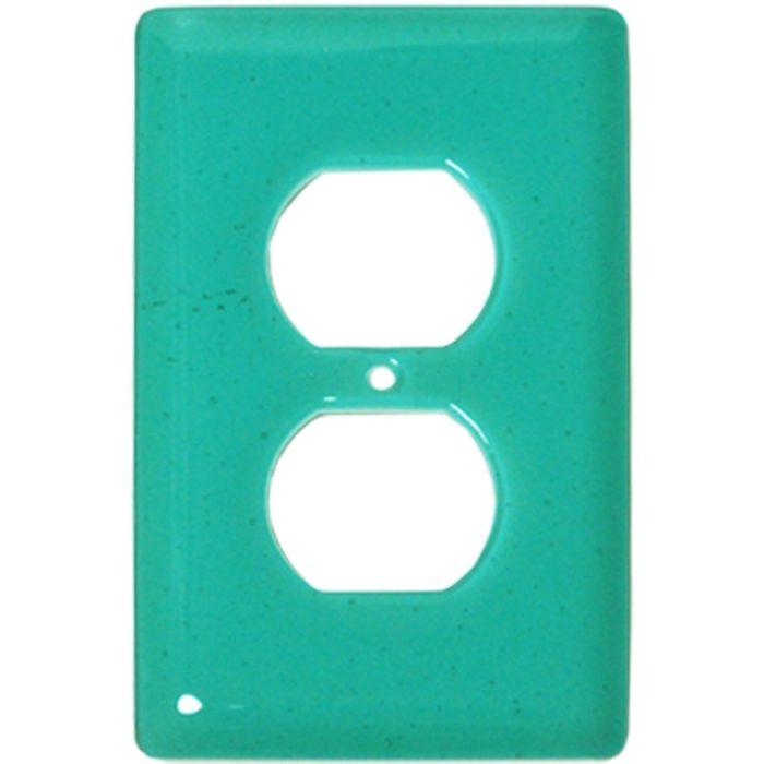 Light Aqua Blue Glass 1 Gang Duplex Outlet Cover Wall Plate