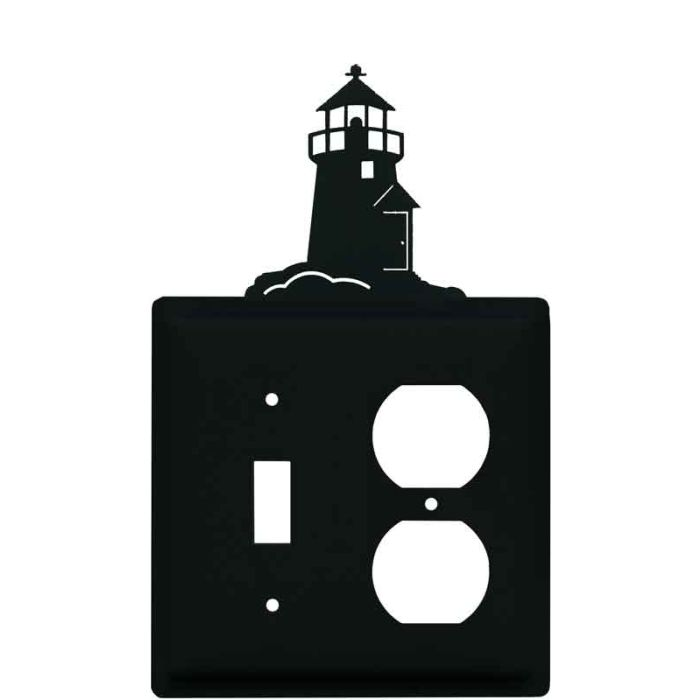 Lighthouse Black Combination 1 Toggle / Outlet Cover Plates