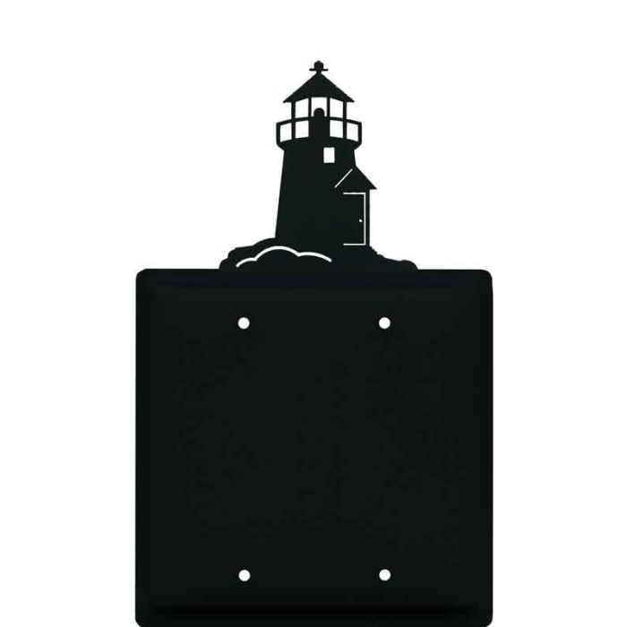 Lighthouse Black Double Blank Wallplate Covers