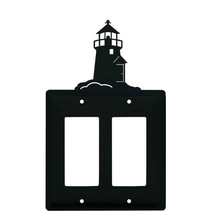 Lighthouse Black 2 Gang Double GFCI Rocker Decorator Wallplates