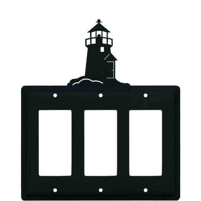 Lighthouse Black Triple 3 Rocker GFCI Decora Light Switch Covers