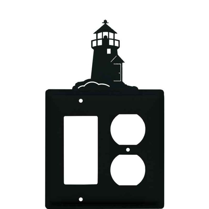 Lighthouse Black Combination GFCI Rocker / Duplex Outlet Wall Plates