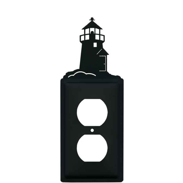 Lighthouse Black 1 Gang Duplex Outlet Cover Wall Plate