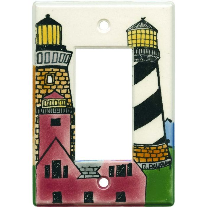 Lighthouses Single 1 Gang GFCI Rocker Decora Switch Plate Cover