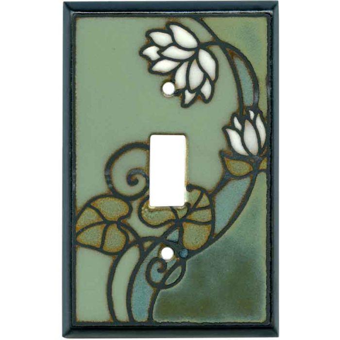 Lily Pad Ceramic Single 1 Toggle Light Switch Plates