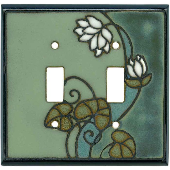 Lily Pad Ceramic Double 2 Toggle Switch Plate Covers