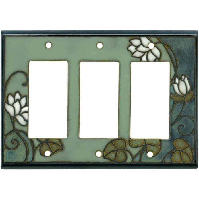 Lily Pad Ceramic Triple 3 Rocker GFCI Decora Light Switch Covers