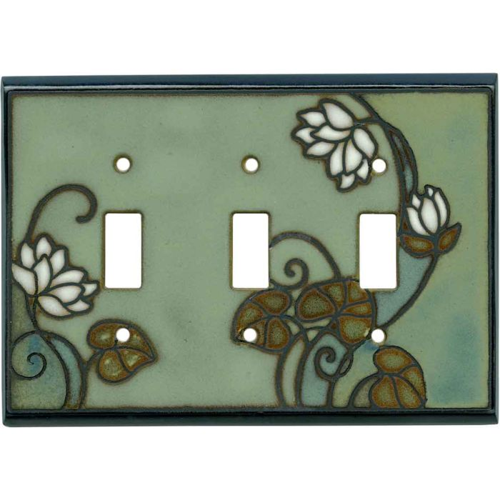 Lily Pad Ceramic Triple 3 Toggle Light Switch Covers