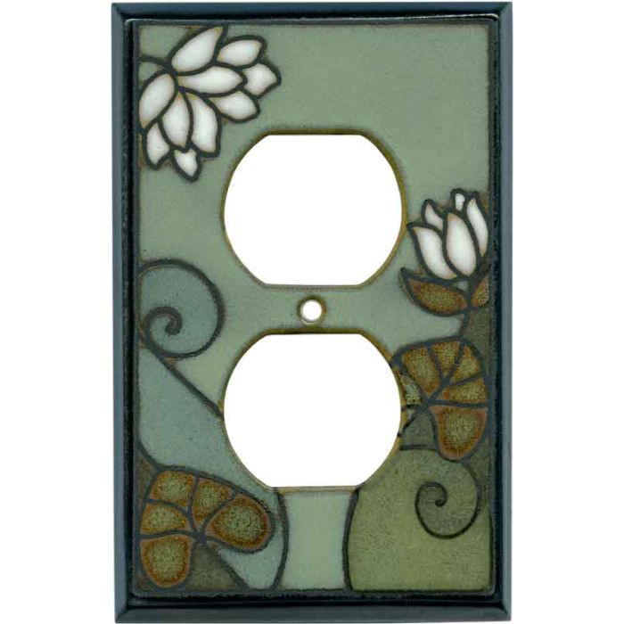 Lily Pad Ceramic 1 Gang Duplex Outlet Cover Wall Plate