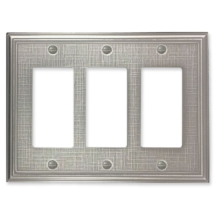 Linen Brushed Nickel Triple 3 Rocker GFCI Decora Light Switch Covers