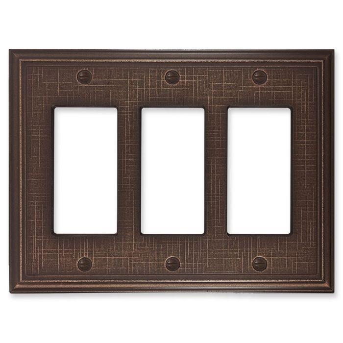 Linen Oil Rubbed Bronze Triple 3 Rocker GFCI Decora Light Switch Covers