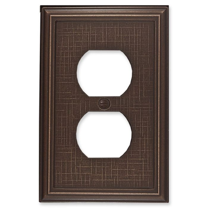 Linen Oil Rubbed Bronze 1 Gang Duplex Outlet Cover Wall Plate