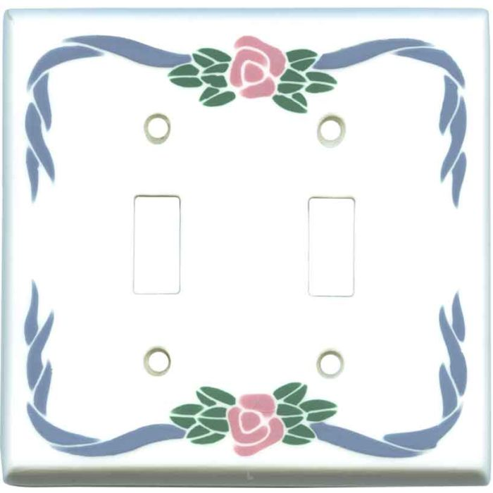 Little Flower Ceramic Double 2 Toggle Switch Plate Covers
