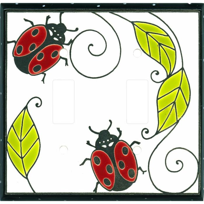 Little Ladybug Ceramic Double 2 Toggle Switch Plate Covers