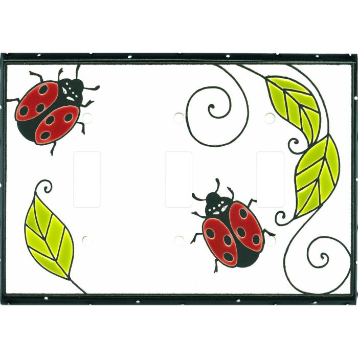 Little Ladybug Ceramic Triple 3 Toggle Light Switch Covers