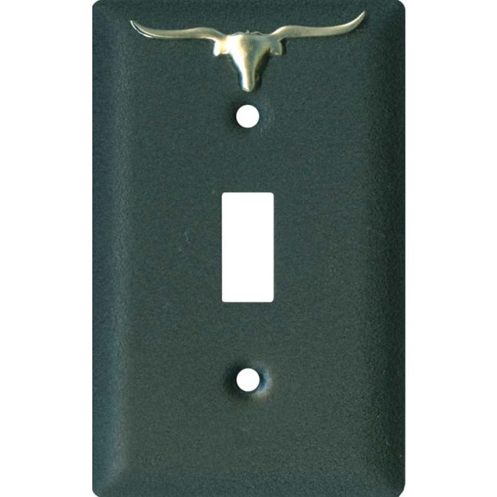 Longhorn Black1 Toggle Light Switch Cover