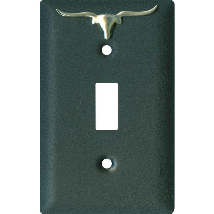 Longhorn Black Single 1 Toggle Light Switch Plates