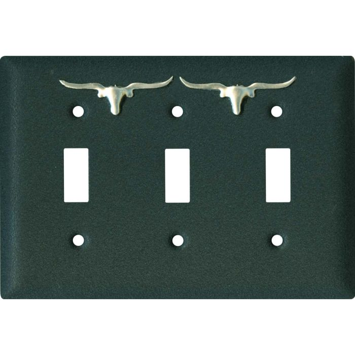 Longhorn Black Triple 3 Toggle Light Switch Covers