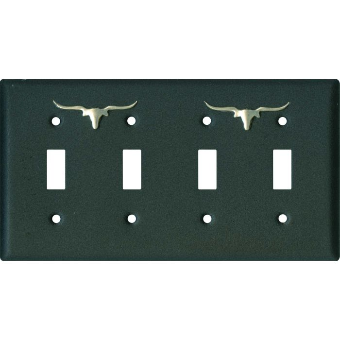 Longhorn Black4 - Toggle Light Switch Covers & Wall Plates