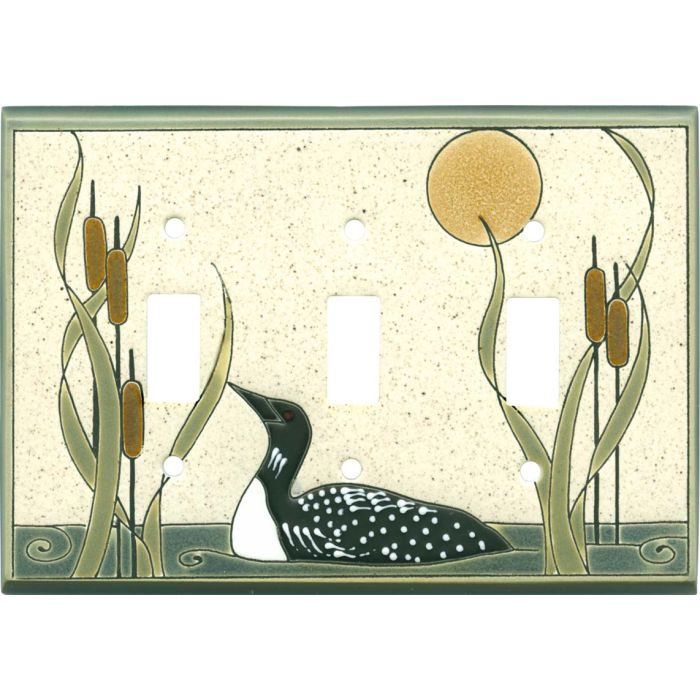 Loon Sand Ceramic Triple 3 Toggle Light Switch Covers