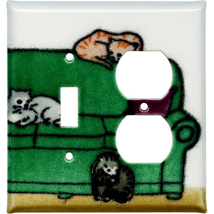 Lounging Cats Combination 1 Toggle / Outlet Cover Plates