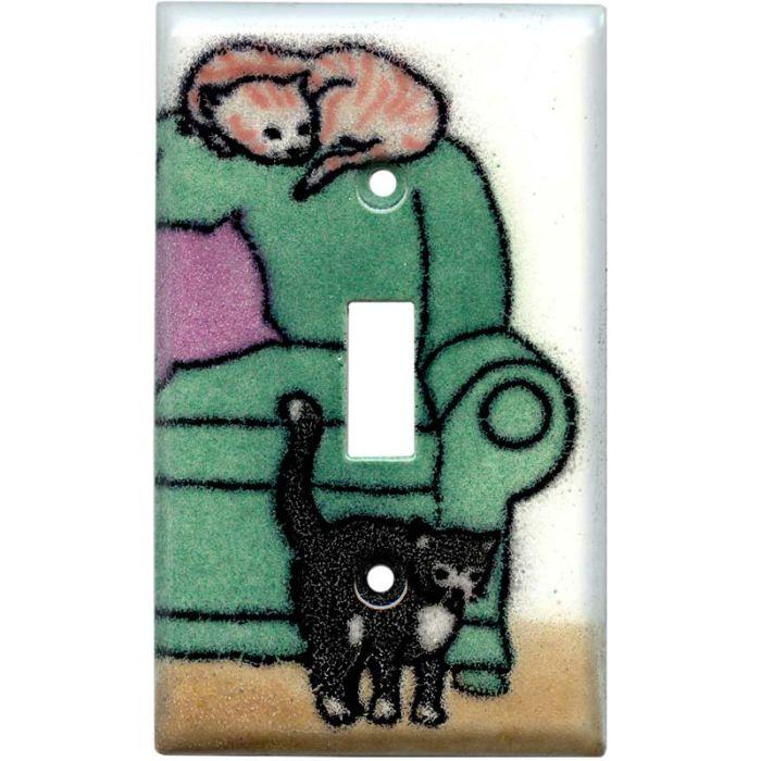 Lounging Cats Single 1 Toggle Light Switch Plates