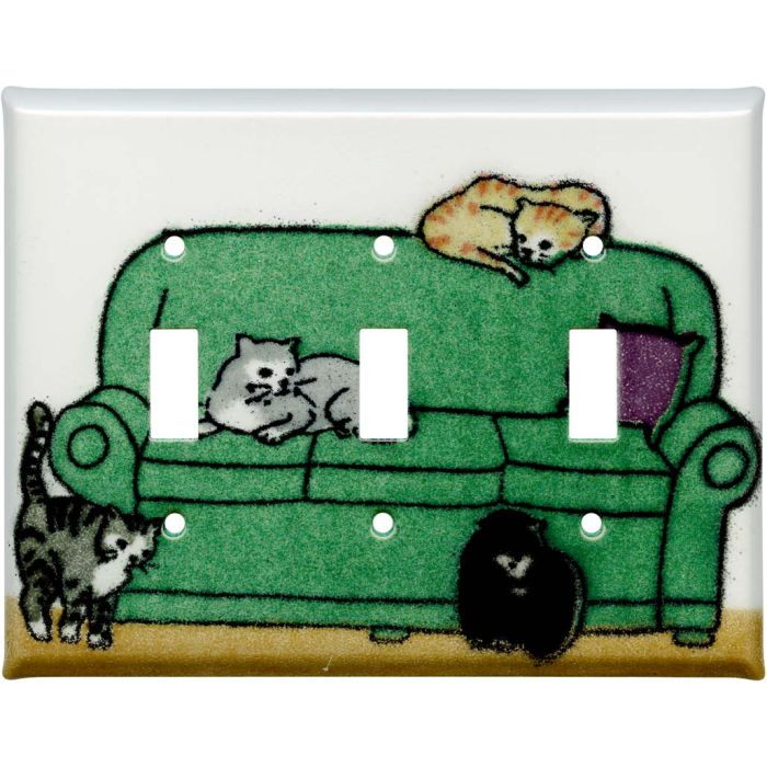 Lounging Cats Triple 3 Toggle Light Switch Covers