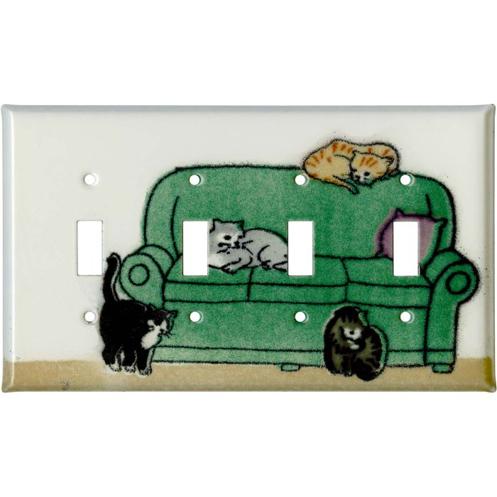 Lounging Cats Quad 4 Toggle Light Switch Covers
