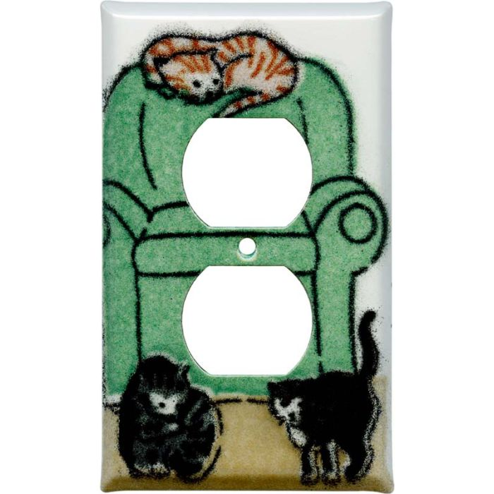 Lounging Cats 1 Gang Duplex Outlet Cover Wall Plate