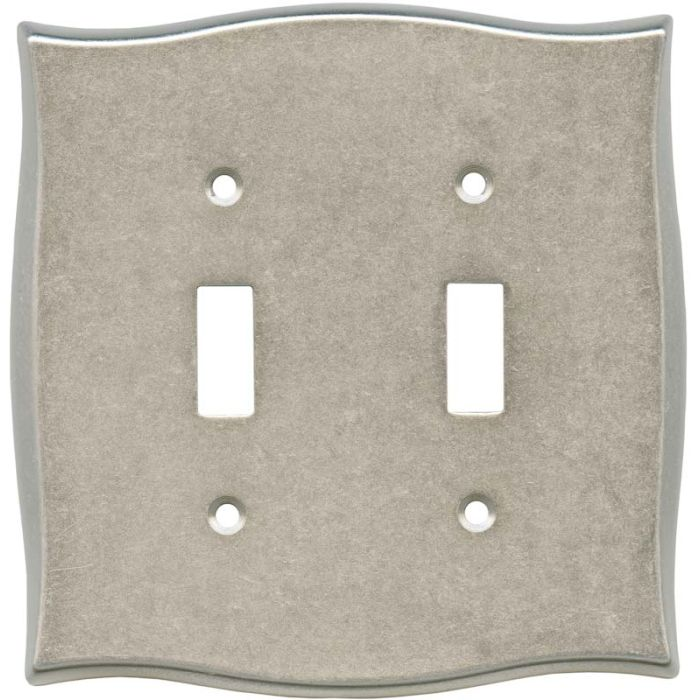 Brainerd Lylah Vintage Nickel Double 2 Toggle Switch Plate Covers