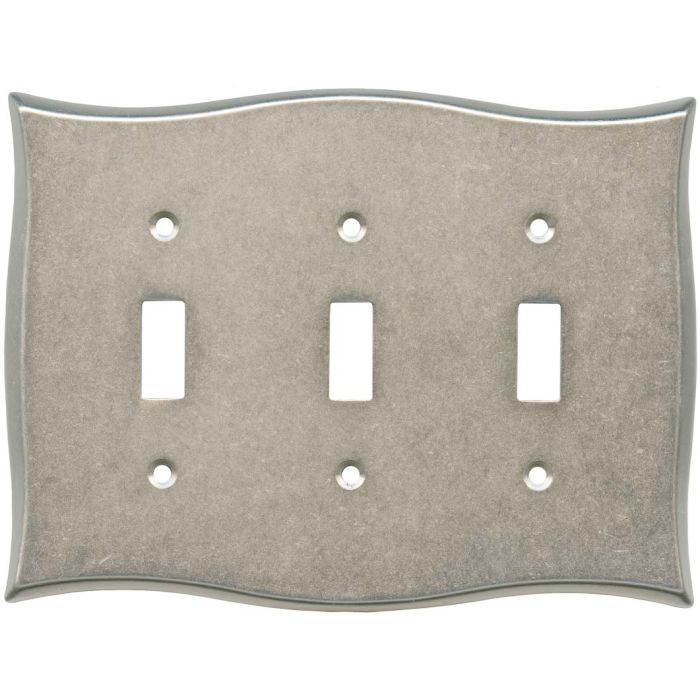 Brainerd Lylah Vintage Nickel Triple 3 Toggle Light Switch Covers