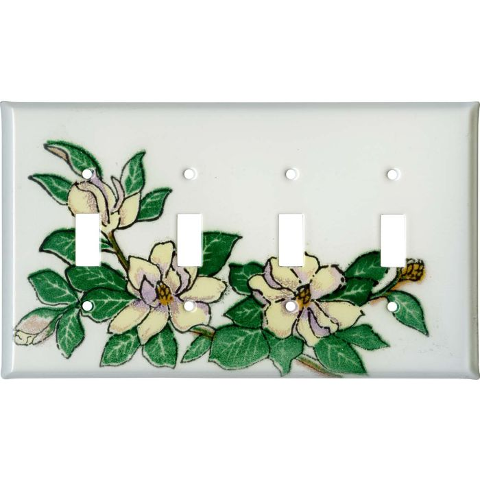 Magnolia 4 - Toggle Light Switch Covers & Wall Plates