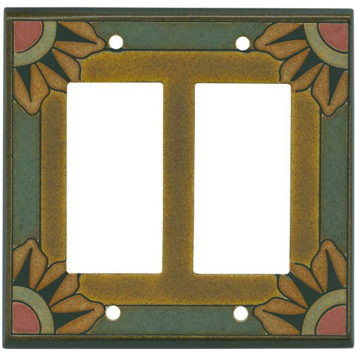 Malibu Ceramic 2-Gang Decorator / GFCI Rocker Wall Plate Cover