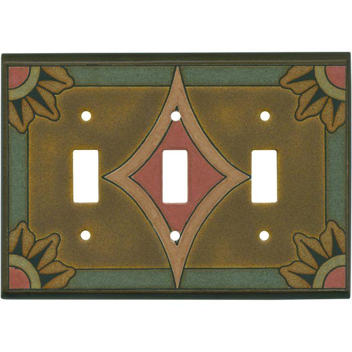 Malibu Ceramic Triple 3 Toggle Light Switch Covers