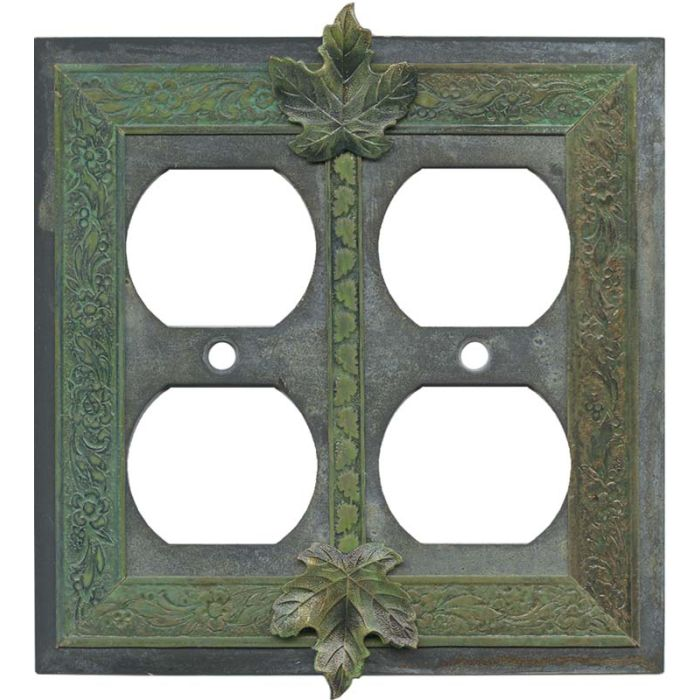 Maple Leaf 2 Gang Duplex Outlet Wall Plate Cover