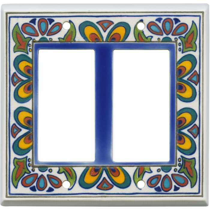 Mediterranean Ceramic 2 Gang Double GFCI Rocker Decorator Wallplates