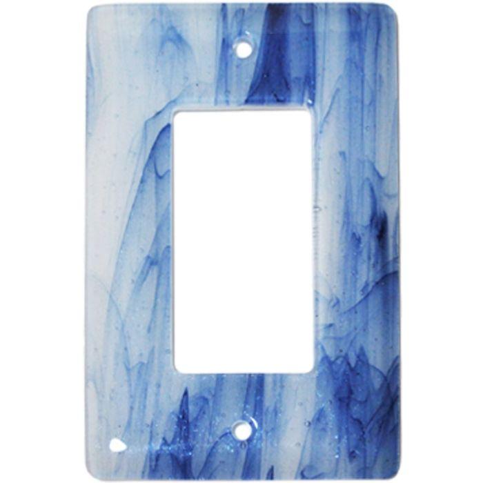 Metallic Blue Clear Swirl Glass Single 1 Gang GFCI Rocker Decora Switch Plate Cover