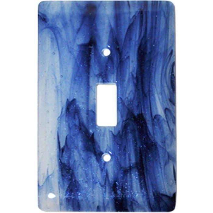 Metallic Blue Clear Swirl Glass Single 1 Toggle Light Switch Plates
