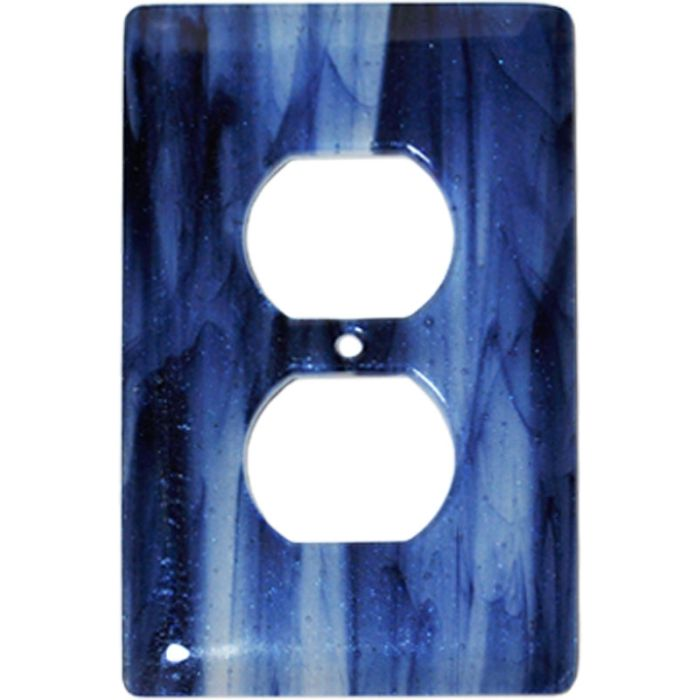 Metallic Blue Clear Swirl Glass 1 Gang Duplex Outlet Cover Wall Plate
