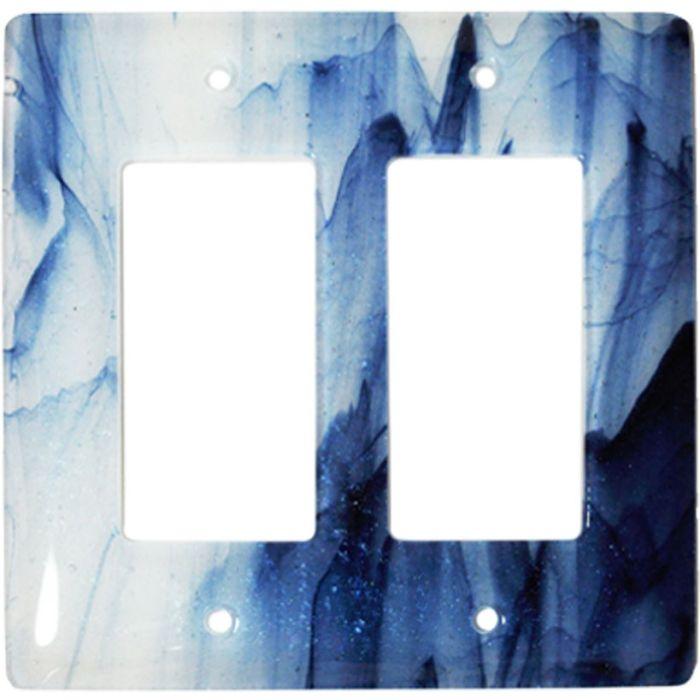 Metallic Blue Clear Swirl Glass 2 Gang Double GFCI Rocker Decorator Wallplates