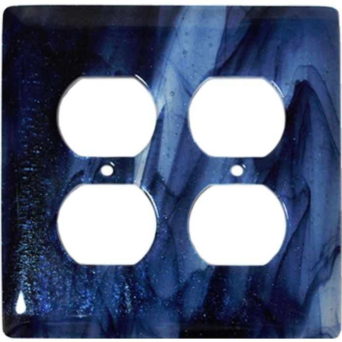 Metallic Blue Clear Swirl Glass 2 Gang Duplex Outlet Wall Plate Cover