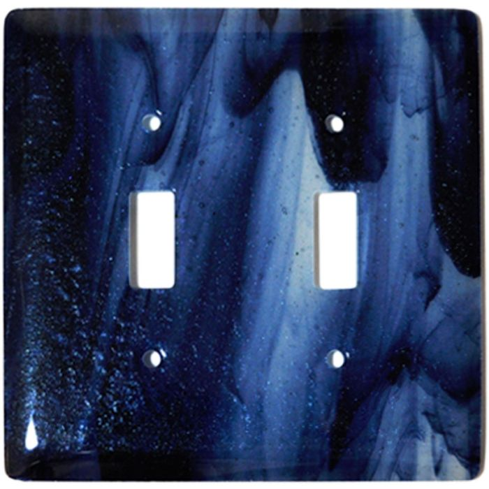 Metallic Blue Clear Swirl Glass Double 2 Toggle Switch Plate Covers