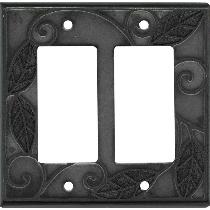 Metallic Leaves Ceramic 2 Gang Double GFCI Rocker Decorator Wallplates