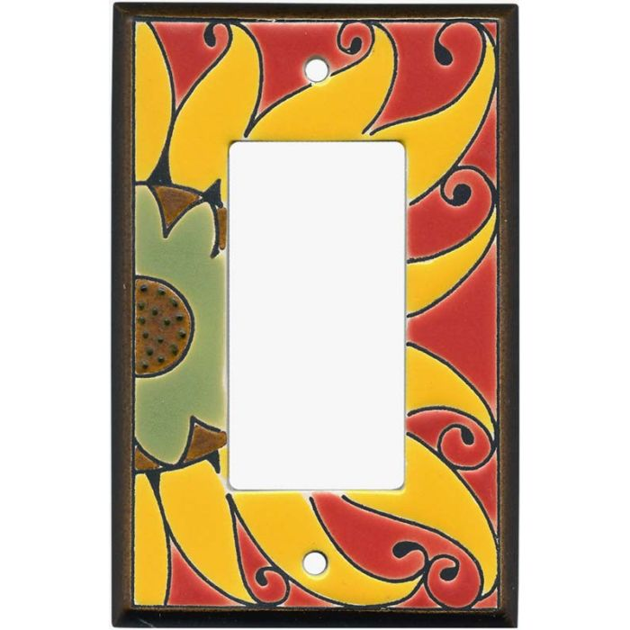 Mexican Sunflower Ceramic Single 1 Gang GFCI Rocker Decora Switch Plate Cover