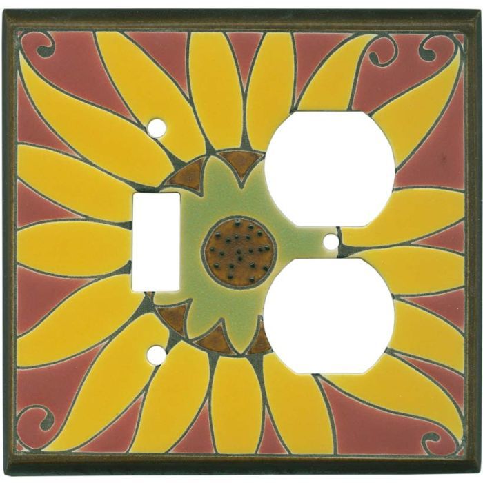 Mexican Sunflower Ceramic Combination 1 Toggle / Outlet Cover Plates