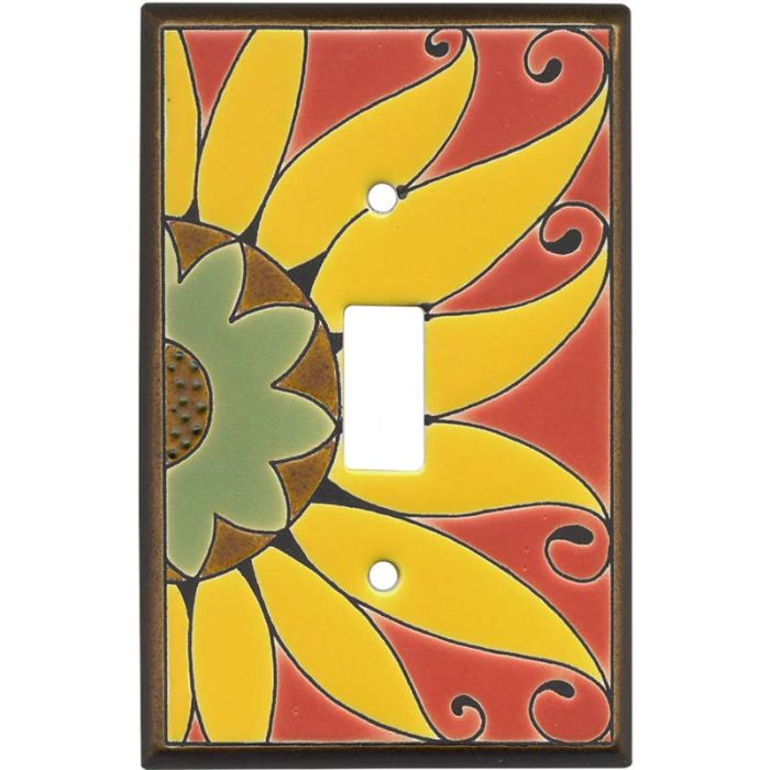 Mexican Sunflower Ceramic Single 1 Toggle Light Switch Plates