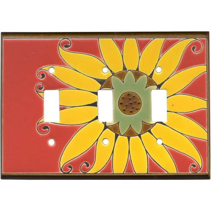 Mexican Sunflower Ceramic Triple 3 Toggle Light Switch Covers