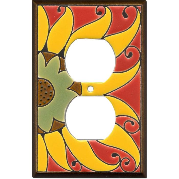 Mexican Sunflower Ceramic 1 Gang Duplex Outlet Cover Wall Plate