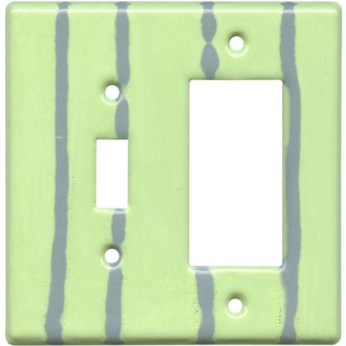 Mint Stripe Combination 1 Toggle / Rocker GFCI Switch Covers